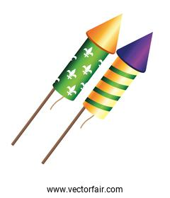 mardi grass fireworks rockets celebration icon