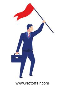 elegant businessman worker with success flag avatar character