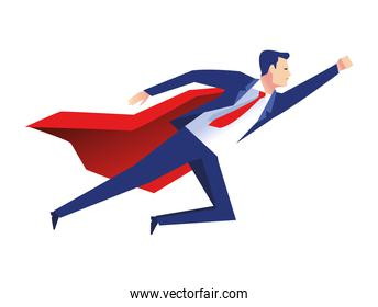 elegant businessman worker flying with hero cape character