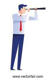 elegant businessman worker with telescope character