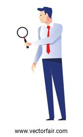 elegant businessman worker with magnifying glass character