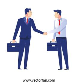 two elegant businessmen workers with portfolio characters