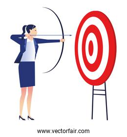 elegant businesswoman worker with target and arrow
