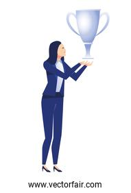 elegant businesswoman worker with trophy cup character