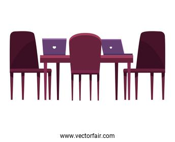 boardroom workplace with laptops forniture