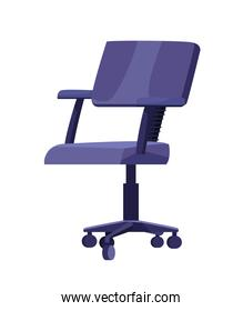 office chair furniture of purple color isolated icon