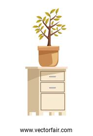 wooden drawer with house plant icon