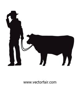 cowboy with cow animal silhouette