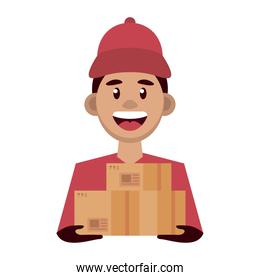 delivery worker lifting boxes character