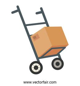 box in cart delivery service isolated style icon