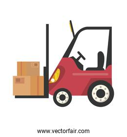 boxes packings in forklift postal service isolated style