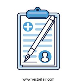 medical order in clipboard health icon