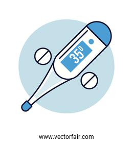 thermometer measure temperature isolated style icon