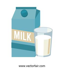 milk box and glass beverage icon