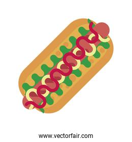 delicious hot dog fast food silhouette style icon