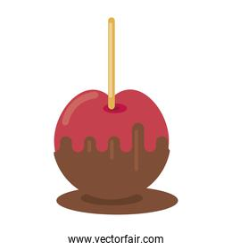 apple with caramel street food icon