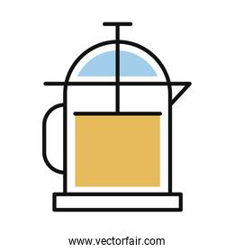 coffee teapot line and fill style icon