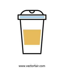 drink in plastic container line and fill style icon