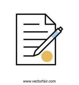 paper document with pen line and fill style icon