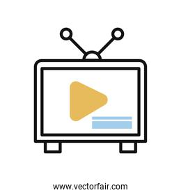 tv device with play button line and fill style icon