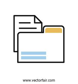 folder with paper document line and fill style icon