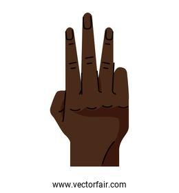 afro hand human number three symbol gesture icon