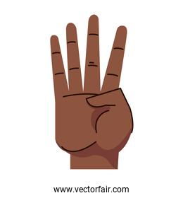 afro hand human four number symbol gesture icon