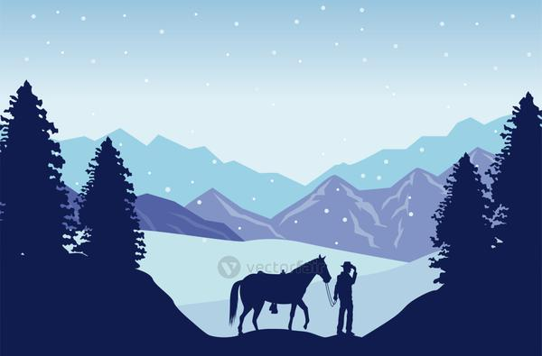 wild west snowscape scene with cowboy and horse