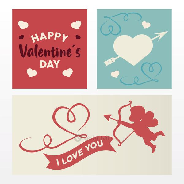 happy valentines day lettering card with angel and hearts