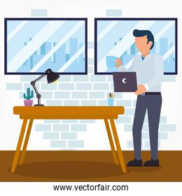 Office desk and man with laptop vector design