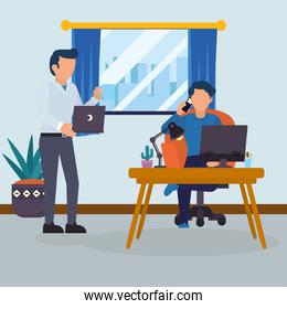 Men in office with desk laptop and computer vector design