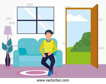 man on couch in home room vector design