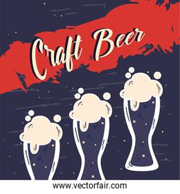 Craft beer glasses vector design