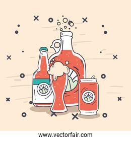 beer glass bottles and can vector design