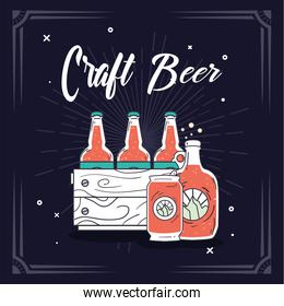 Craft beer bottles box and can vector design
