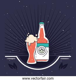 beer glass and bottle vector design