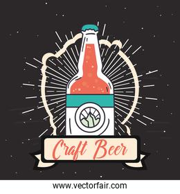 Craft beer bottle with ribbon vector design