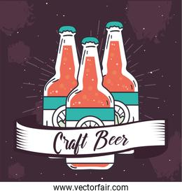 Craft beer bottles with ribbon vector design