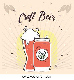 Craft beer glass and can vector design