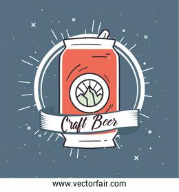 Craft beer can with ribbon vector design
