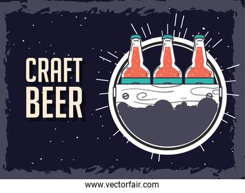 Craft beer bottles box in seal stamp vector design