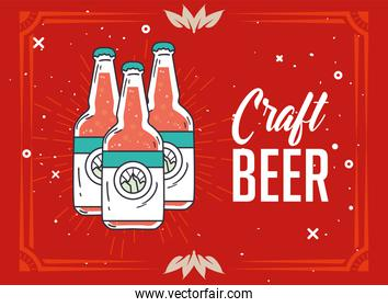 Craft beer bottles vector design