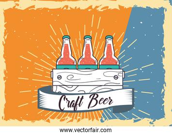Craft beer bottles box with ribbon vector design