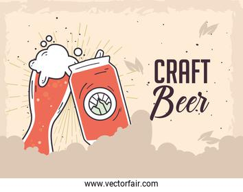 Craft beer glass and can on grunge background vector design