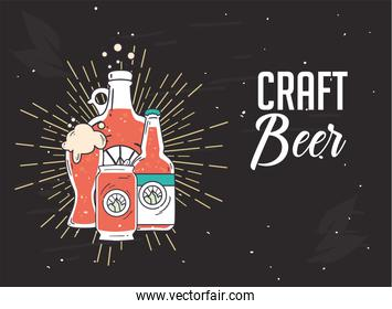 Craft beer bottles and can vector design