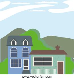 blue and green houses at landscape vector design