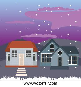 houses at snowing landscape at night vector design