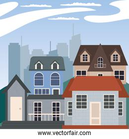 houses at city vector design