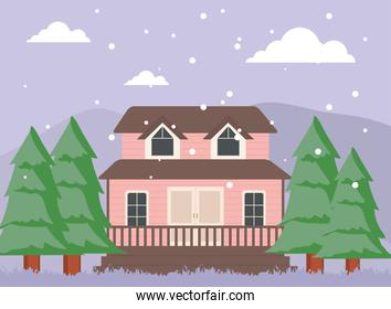 pink house with pine trees at winter landscape vector design
