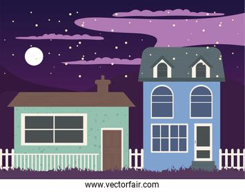houses with fence at night vector design